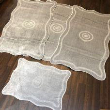 ROMANY GYPSY WASHABLES 4PC SET NON SLIP MATS 80x120CM TARGET SILVER CARPETS